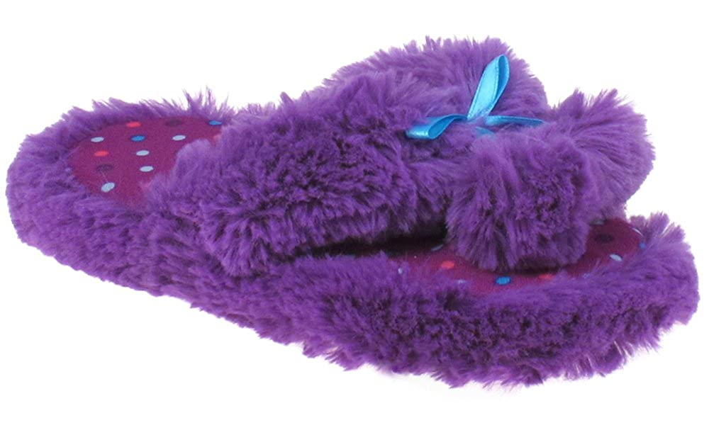 Capelli New York Girls Fur Thong Slippers with Bow and Poms