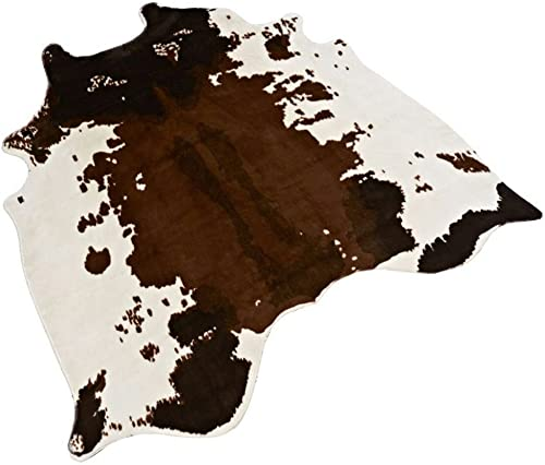 Non-Slip Cow Print Rug 4.3×4.6 Feet Faux Cow Hide Rug Animal Printed Rug Carpet for Home D cor. Cow
