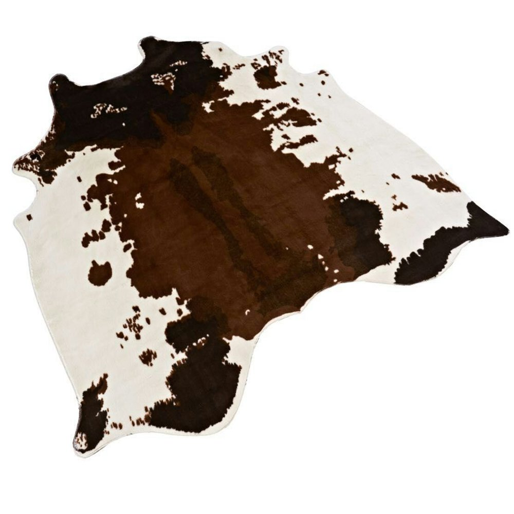Non-slip Cow Print Rug 4.3x4.6 Feet Faux Cow Hide Rug Animal Printed Rug Carpet for Home Décor. (Cow)