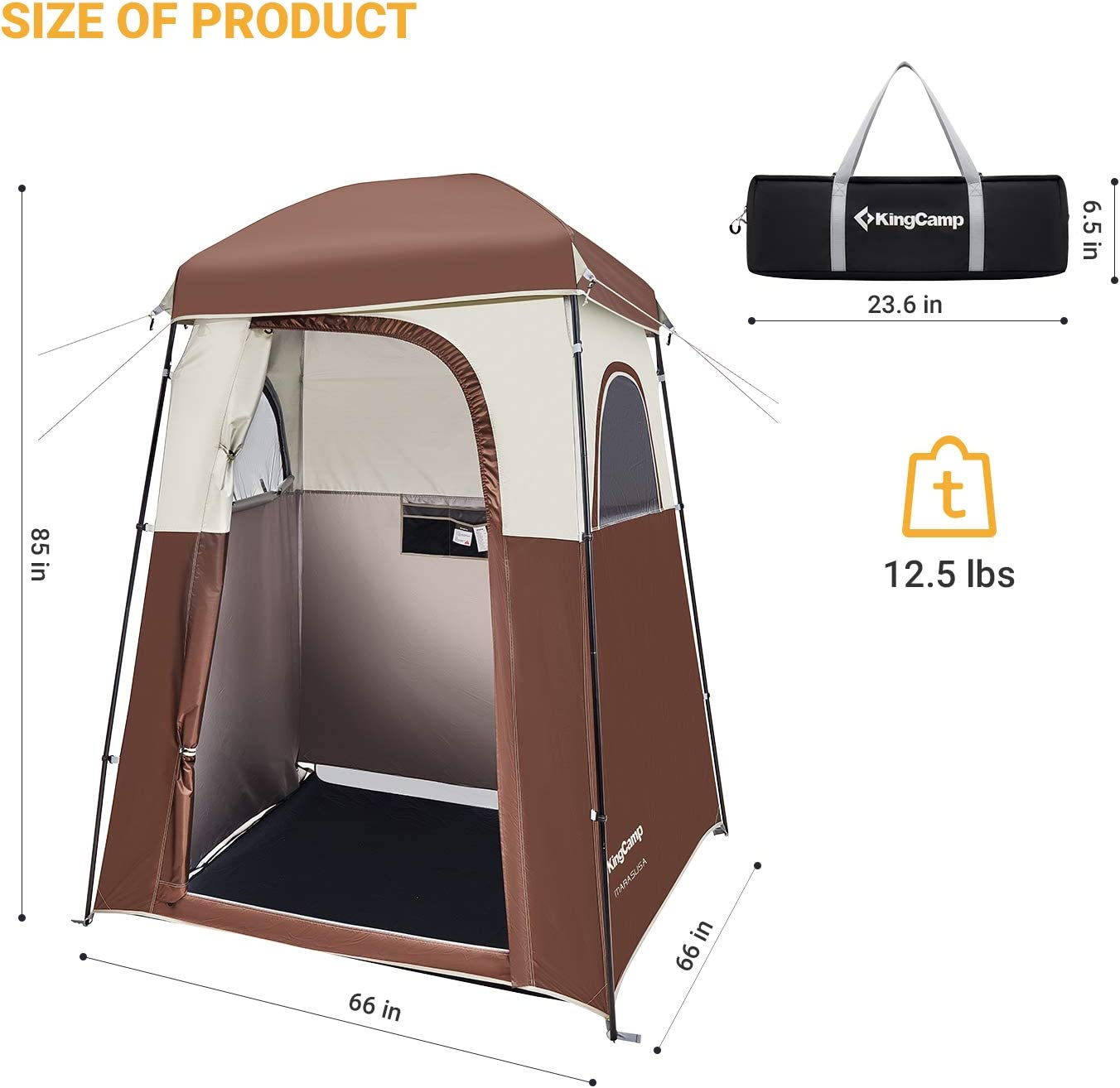 KingCamp Beach Tente Soleil Shade Shelter oversize avec prolongation étage Privacy porte