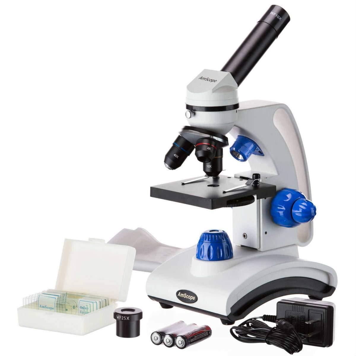 AmScope M162C 2L PB10 40X 1000X Dual Light Glass Lens Metal Frame Student Microscope Slides