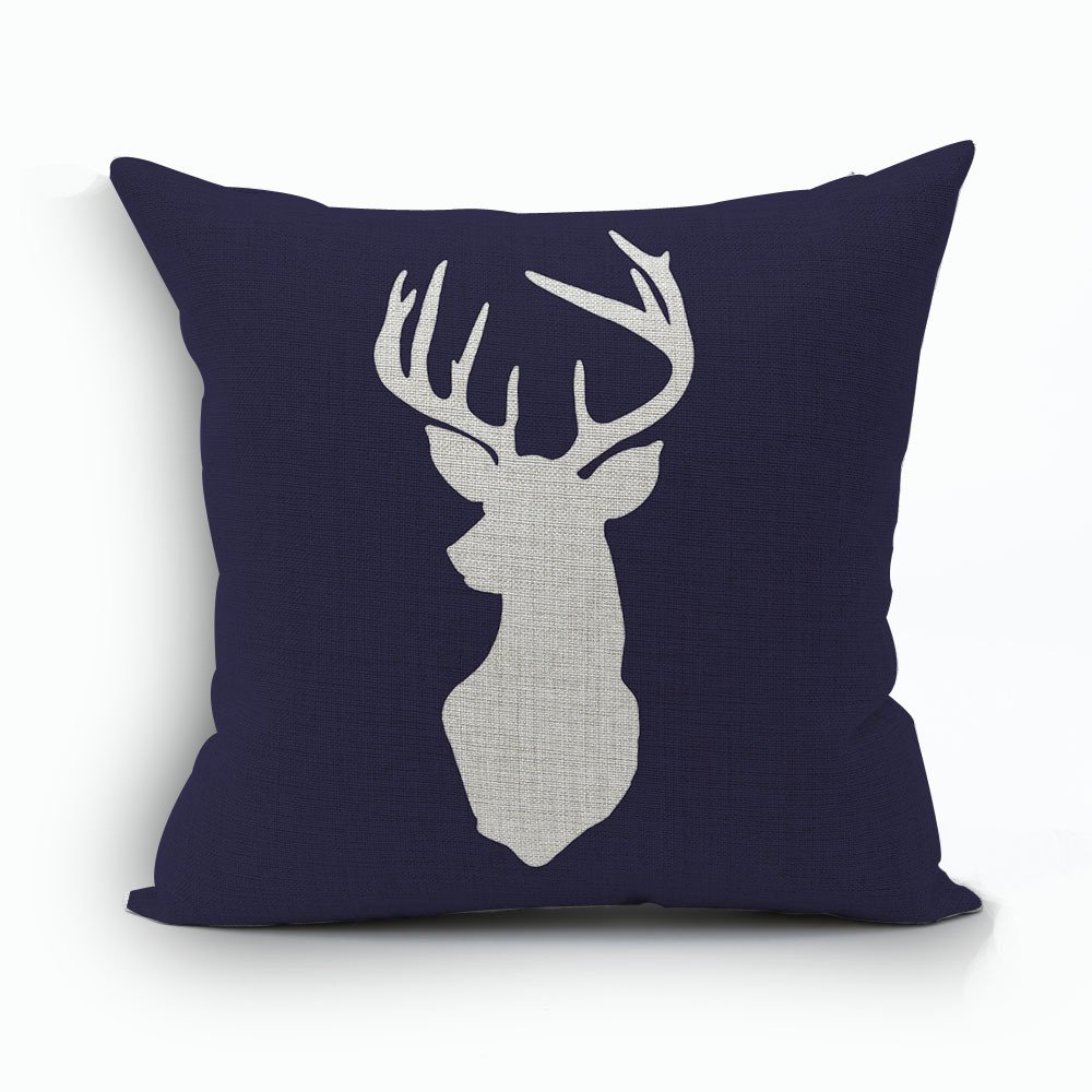 WoodBury Throw Pillow Case Cushion Cover Decorative Pillowcase Square Deer Pattern 18 x 18 Inches 4 Set by Wood Bury (Image #3)