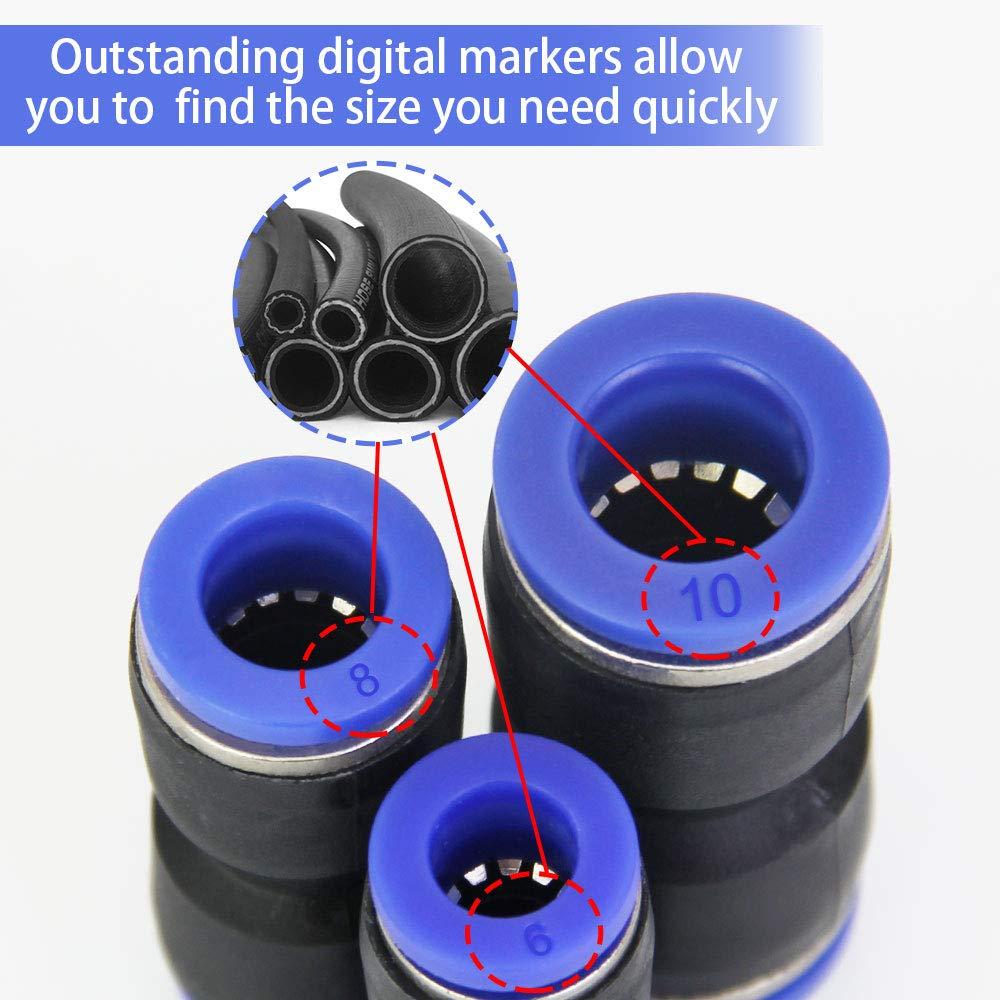 Golrisen 30 st/ücke Pneumatikverschraubungen 6//8//10mm Nylon- und PU-Rohren Pneumatikstecker Pneumatikzubeh/ör zum Verbinden mit Polyethylen- gerade aufsteckbare Pneumatik-Schnellkupplungen