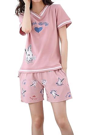 CattyGirl Big Girls Shorts Pajama Set Cute Summer Pj Set Cotton Loungewear  12-20 Years 0450b6e23