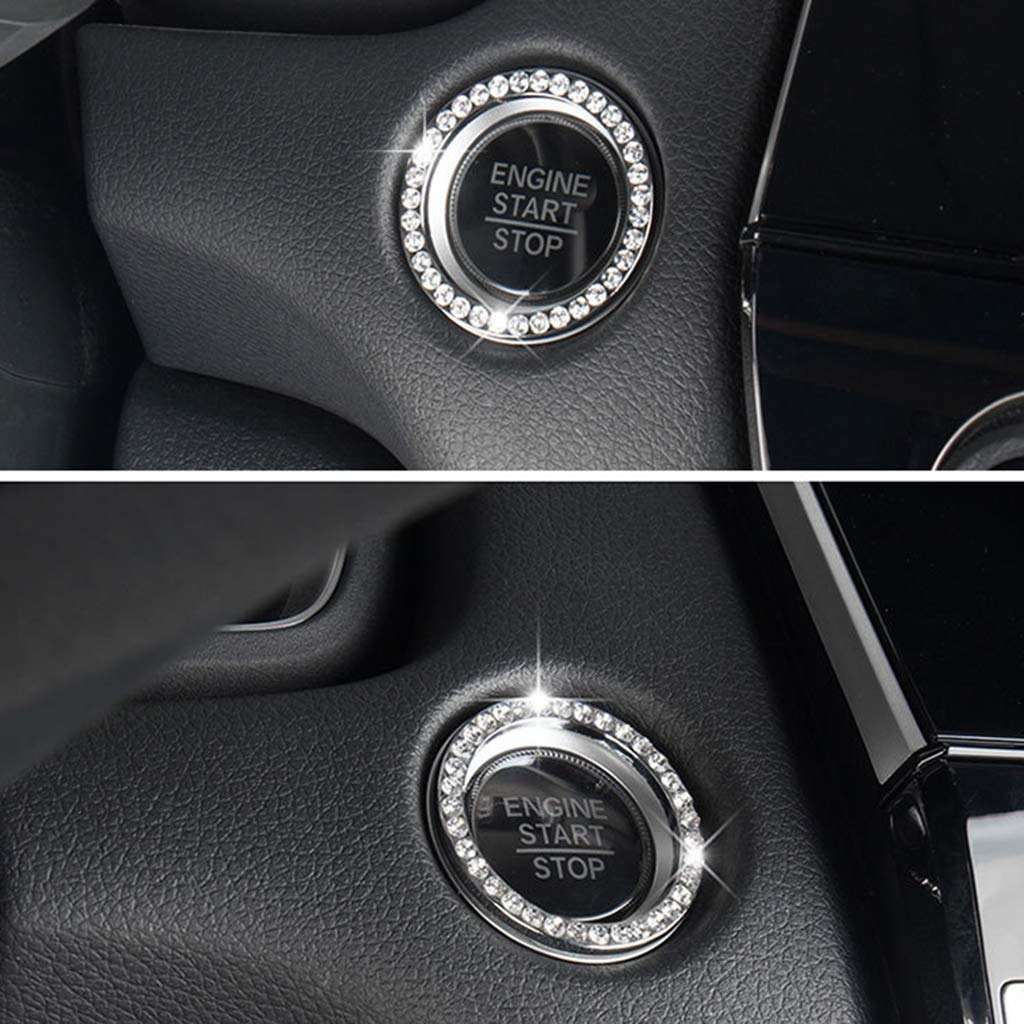 Qiman Mode Kristall Strass Dekor Auto Motor Start Schl/üsselanh/änger Start Stop Z/ündungsknopf Klebrigen Ring