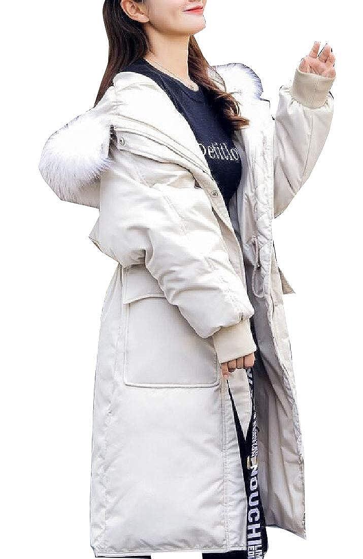 1 Keaac Women's Warm Winter Coat Warm Long Faux Fur Thick Hoodie Overcoat