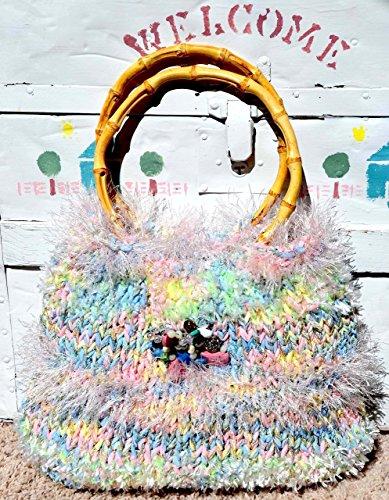 SALE Pastel Hand-Knit Handbag, Knit Handbag, Bamboo Top Handles, Handmade Removable Semi Precious Stone Brooch, (One Of A Kind) OOAK FREE - For Sale Hut