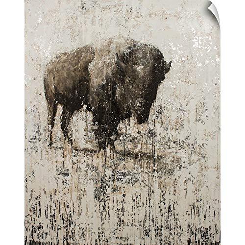 Ink Matt 38 Black - CANVAS ON DEMAND Lone Buffalo Wall Peel Art Print, 38