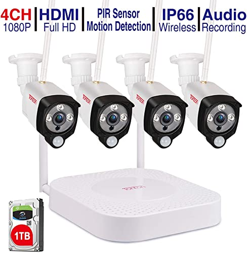 Audio PIR Tonton 1080P Wireless Home Security Camera System,4CH Full HD 1080P Network WiFi NVR with 1TB HDD and 4PCS 2.0MP Outdoor Bullet IP Cameras,Motion Alerts with Snapshot,Easy Installation