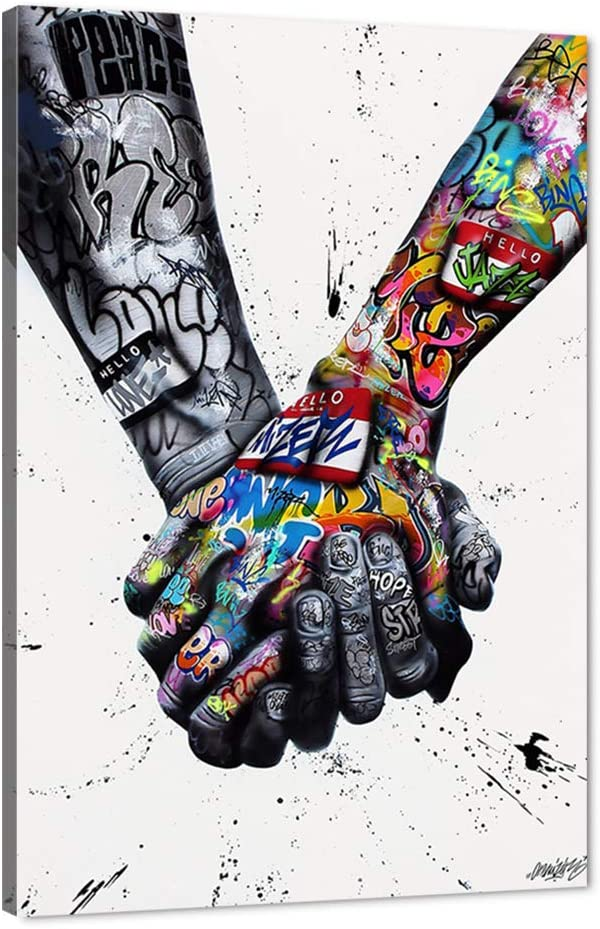 WeiYang Wall Art Canvas Painting Colorful Graffiti Street Pop Art Pictures Modern Lover Hands Posters Prints Artwork Home Decoration for Living Room Bedroom Office Gifts Framed Ready to Hang - 24
