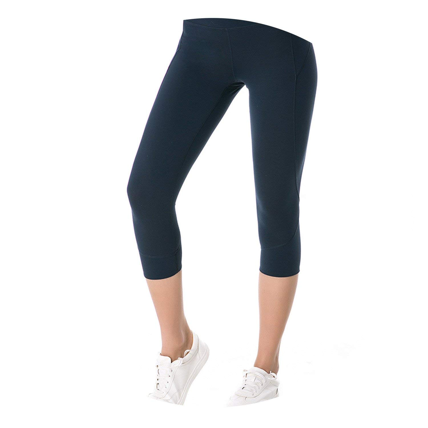 Pru blueee Medium Women Squat Proof Yoga Pants Crop Yoga Leggings Sports Capri Tights Fitness Cropped Pant