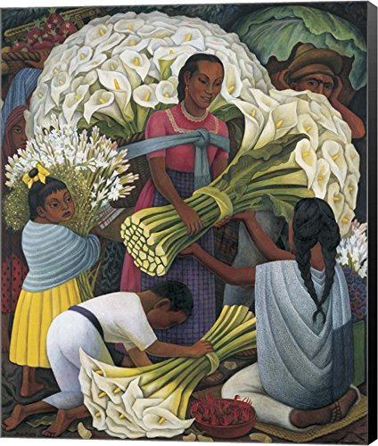 Great Art Now The Flower Vendor by Diego Rivera Canvas Art Wall Picture, Museum Wrapped with Black Sides, 10 x 12 inches