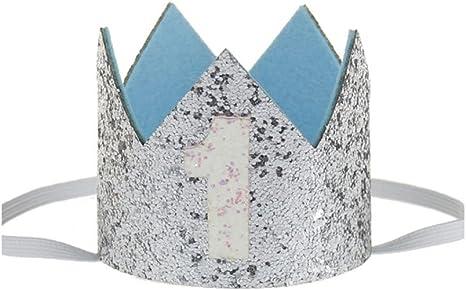 Image ofKicode cumpleaños Corona Banda para el Cabello Bebé Resplandecer Accesorio para el Cabello Headwear Regalo Color Plata