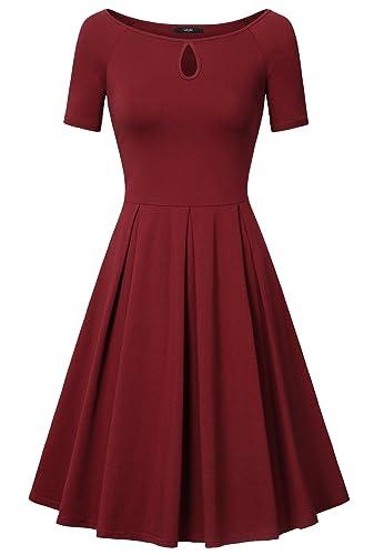 Women's Dresses, Laksmi Boat Neck Key Hole Short Sleeve A Line Sexy Casual Dress