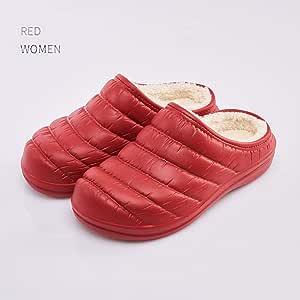 WYEZ Zuecos Zapatillas cálido Zapatos de jardín Forrados de Felpa de Invierno de casa Zapatillas de algodón Suela Antideslizante Impermeables para Interiores y Exteriores Unisex,Rojo,40/41: Amazon.es: Hogar