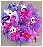 Spring Summer Floral Deco Mesh Everyday Wreath Pink & Purple Door Decor