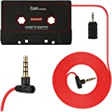 BESDATA Car Cassette Adapters for iPod, iPad, iPhone, MP3, Mobil Device, 3 Feet Long Cable with 3.5mm Male & 2.5mm Male Adapter & Microphone for Phone Calls, Black - KD200