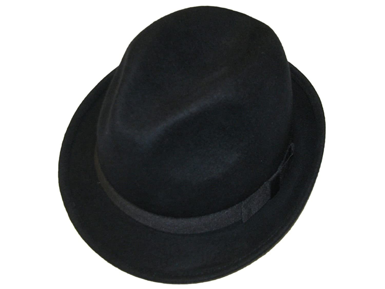 Unisex BLACK 100% Wool Hand Made Felt Fedora Trilby Hat With Band - 4 Sizes