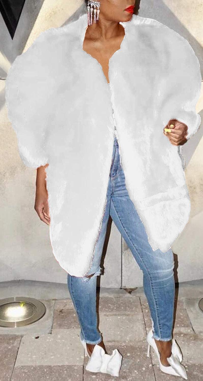 Womens Winter Luxury Faux Fur Shawl Cloak Cape Coat