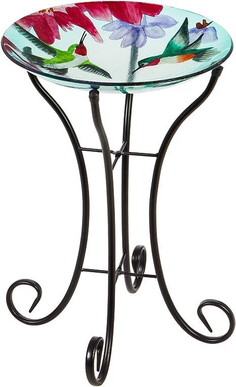 16 x 2 x 16 Inches Evergreen Garden Blooming Hydrangea Glass Bird Bath