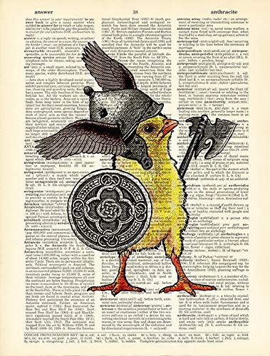 Boy Room Decor Chicken Celtic Warrior Poster Dictionary Page Print