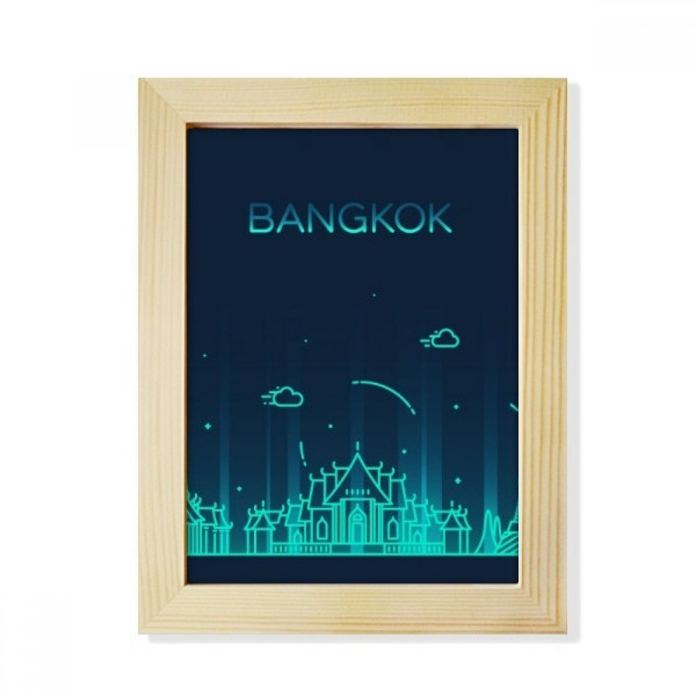 DIYthinker Thai Customs Culture Shadow Bangkok Desktop Wooden Photo Frame Picture Art Painting 6x8 inch