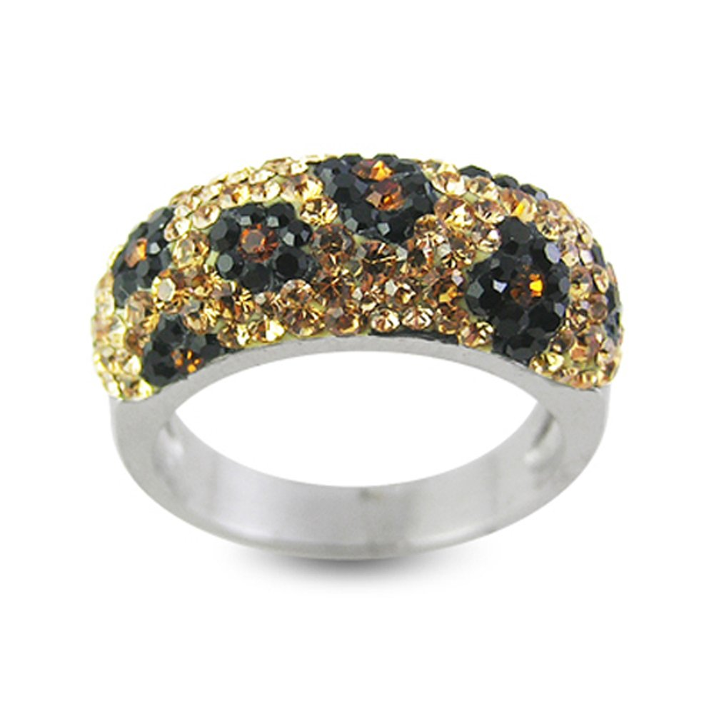 Colorful Tiger Pattern Multi Preciosa Crystal Stone 316L Surgical Steel Finger Ring Jewelry