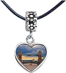 Chicforest Silver Plated London Tower Bridge under the sunset Photo Flower Head Dangle Heart Charm Beads Fits Pandora Bracelet