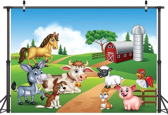 LYWYGG 7x5ft Fondo de Dibujos Animados Fotografía Granja