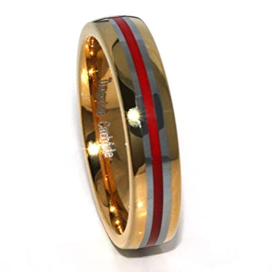 Panvisionary Golden Thin Red Line 6mm Tungsten Carbide Ring