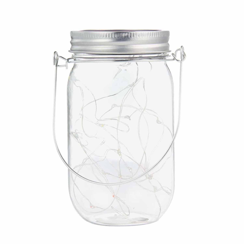 Plastic Mason Jar String Lights, Aolvo 20 LED Bulbs Solar Mason Jar Lids Fairy String Lights with Solar Panel for Backyard Landscape Outdoor Jar Decor (Mason Jar & Handle Included)-Warm White