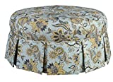 Leffler Home 12000-16-26-01 Chamberlain Spa Ava Round Pleated Upholstered Ottoman, Blue