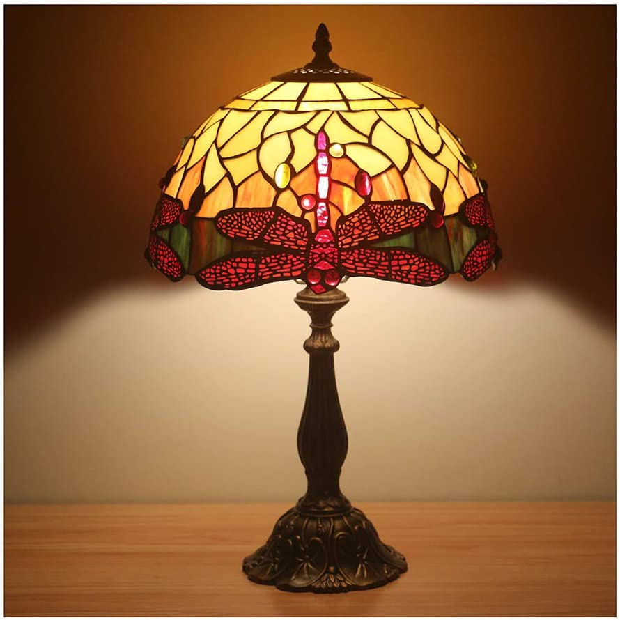 12 Red Dragonfly Tiffany Lamp
