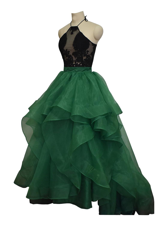 Green flowerry Organza Skirt Women Wedding Bridal Train Skirt Ruffle Maxi Bridesmaid Skirt