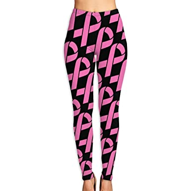 2f2ec2546d33ec Amazon.com: NO2XG Pink Breast Cancer Ribbon High Waist Yoga Pants Tummy  Control Pilates Leggings Women's Stretch Yoga Leggings: Clothing