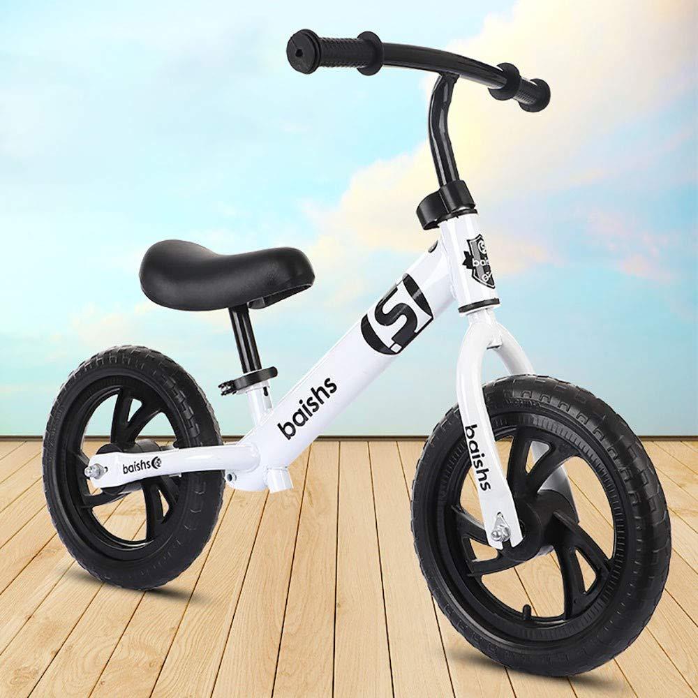 Weiß GAOJIN 12 Zoll Balance Fahrrad Kohlenstoffstahl Kein Pedal Walking Balance Training Laufrad Sitz verstellbar Bike Lernlaufrad für ab 2 bis 5 Jahre Kind