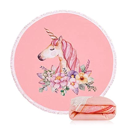 96628600e9422 Amazon.com: Unicorn Beach Towel 59 Inch Pink Large Round Beach Towel Blanket  with Tassels Ultra Soft Microfiber Super Water Absorbent for Bath Beach  Pool ...