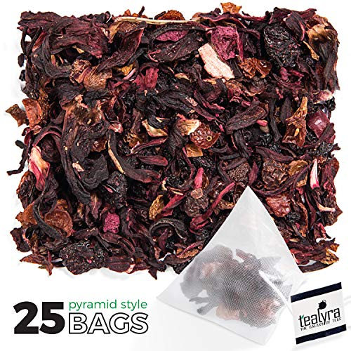 Tealyra - Cherry Goddess - 25 Bags - Fruity Herbal Loose Leaf Tea - Caffeine-Free - Vitamin Rich - Hot and Iced - All Natural - Pyramids Style Sachets
