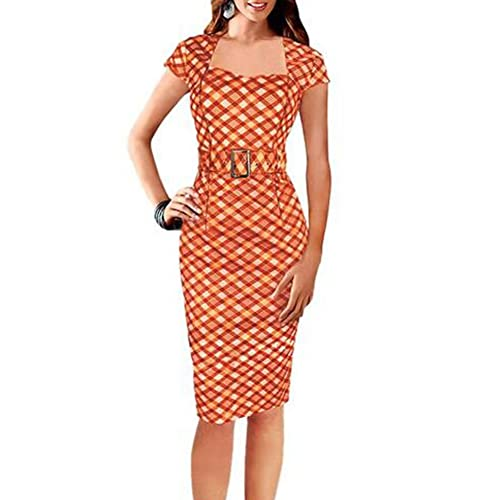 Bluewo Women's Vintage Belted Tartan Tunic Cocktail Party Bodycon Pencil Dress
