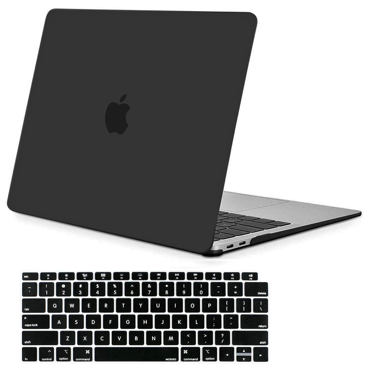 Mosiso MacBook Air 13 Case 2018 Release A1932 with Retina Display, Plastic Hard Case Shell with Keyboard Skin Cover Only for Newest MacBook Air 13 inch with Touch ID, Black