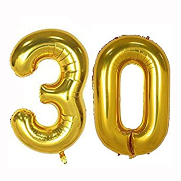 40inch Gold Foil 30 Helium Jumbo Digital Number Balloons 30th Birthday Decoration For Women Or