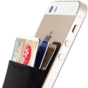 SINJIMORU Stick-on Wallet que funciona como titular de la tarjeta de crédito, billetera de tarjeta de crédito. Sinji Pouch Basic 2, Negro