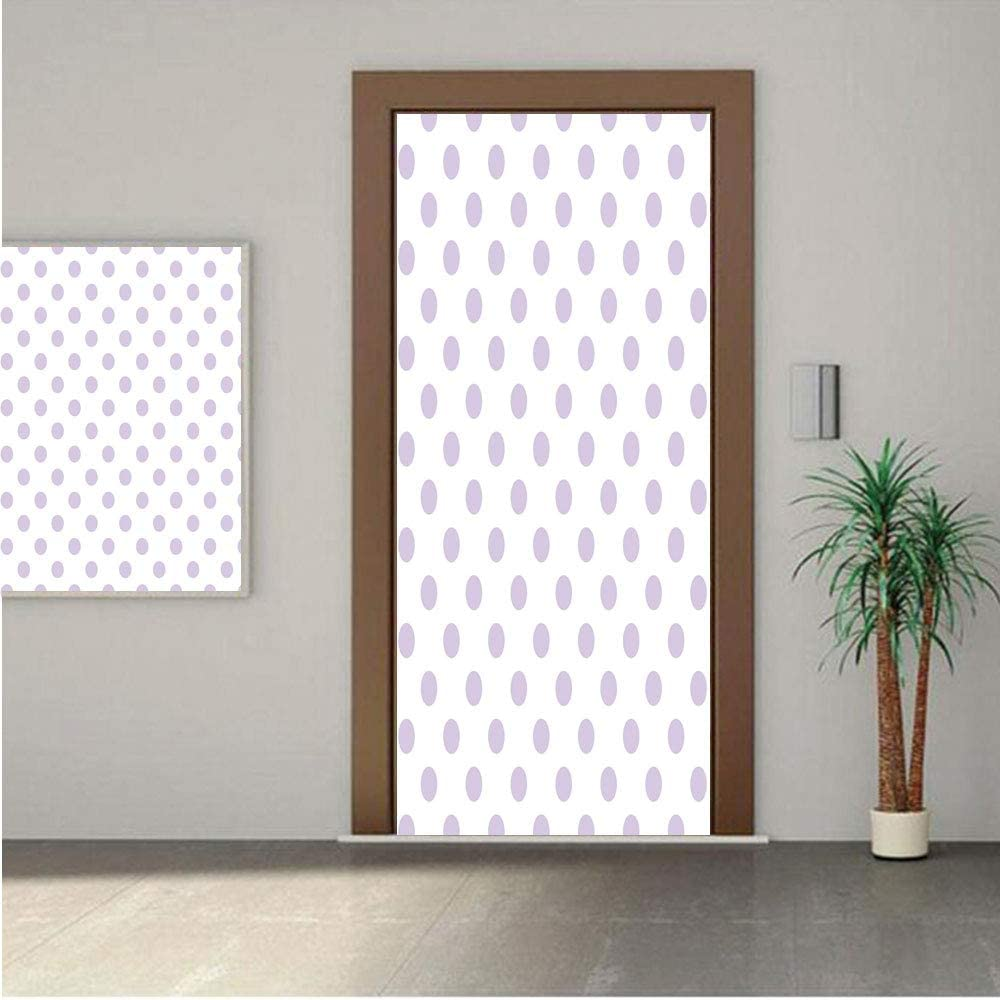 Ylljy00 Lavender Premium Stickers for Door/Wall/Fridge Home DecorOld Fashioned Retro Design with Polka Dots Classical Spotted Tile Pattern 30x80 ONE Piece Sticky Mural,Decal,Cover,Skin