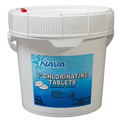 Nava Chemicals 652101353 3-Inch Wrapped Trichlor Tablets, 25-Pound : Swimming Pool Chlorine : Garden & Outdoor