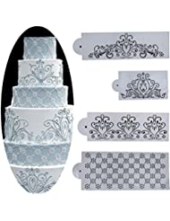 Whitelotous Different Patterns Cake Cookie Fondant Side Baking Stencil Wedding Decor Mold Tool (Type B)