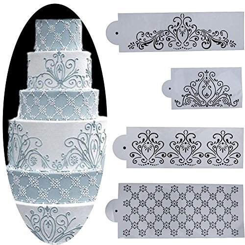 Whitelotous Different Patterns Cake Cookie Fondant Side Baking Stencil Wedding Decor Mold Tool (Type (Stencil Type)