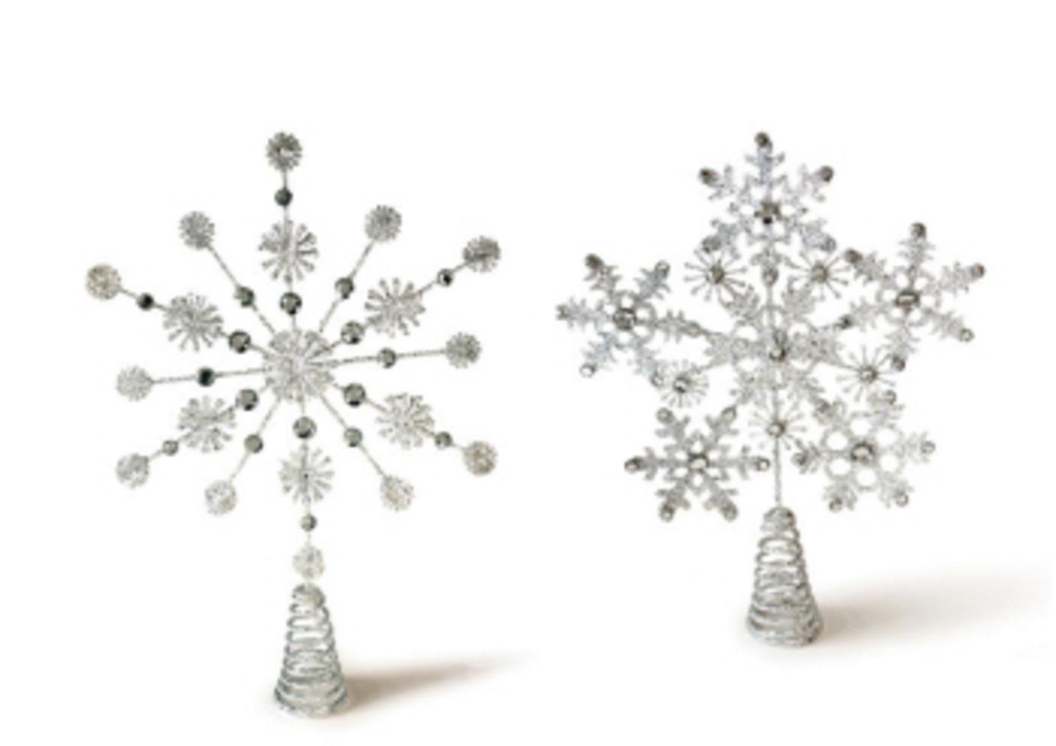 Pack of 4 Silver Glittered and Jeweled Snowflake Christmas Tree Toppers - Unlit