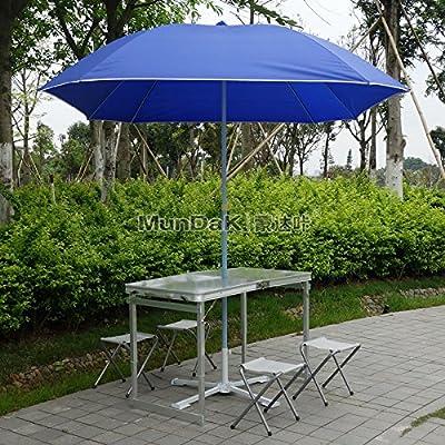 Xing Lin Table Pliable Une Table Pliante Et Chaise Avec Quatuor Bleu Parasol Barbecue Set Table Pique-Nique Table Table Table Portable Blocage 120*60*60Cm, De L'Argent Table + 4 Chaise + Tissu Parapluie Parapluie