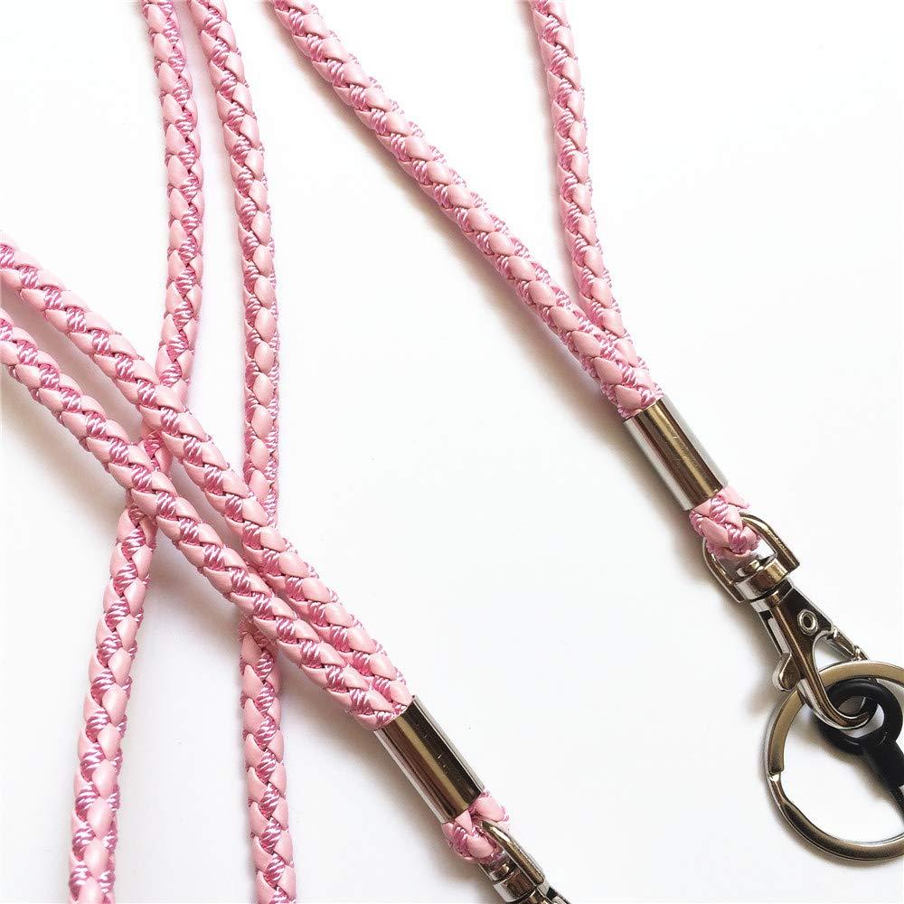 color rosa para clave cadena /& Camera /& tel/éfono m/óvil /& ID Nombre Etiqueta Badge /& USB 1 largo y 1 corto Hecho a mano trenzado Piel correa llavero mu/ñeca correas de mano cuello Cord/ón llavero