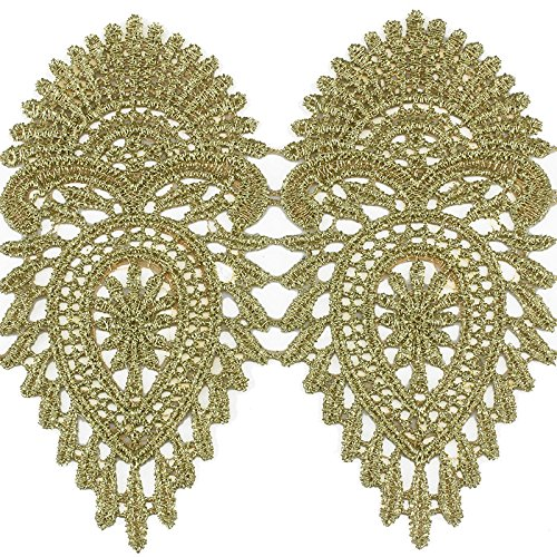 (2yards Gold Metallic Lace Emroidery Ribbon Trim Motif Crochet Cord Venice Venise Applique Sewing Accessories for DIY Design T1519)